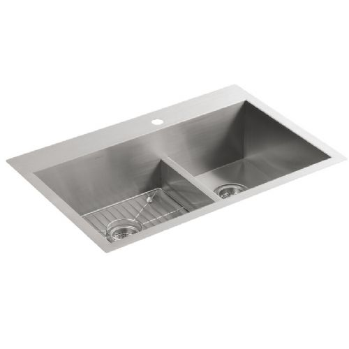 Kohler Vault 3839-1-NA Stainless Steel Offset Smart Divide Two Bowl Kitchen Sink